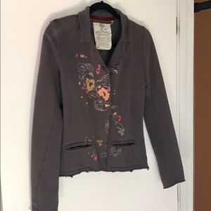 Embellished gray French terry jacket - medium